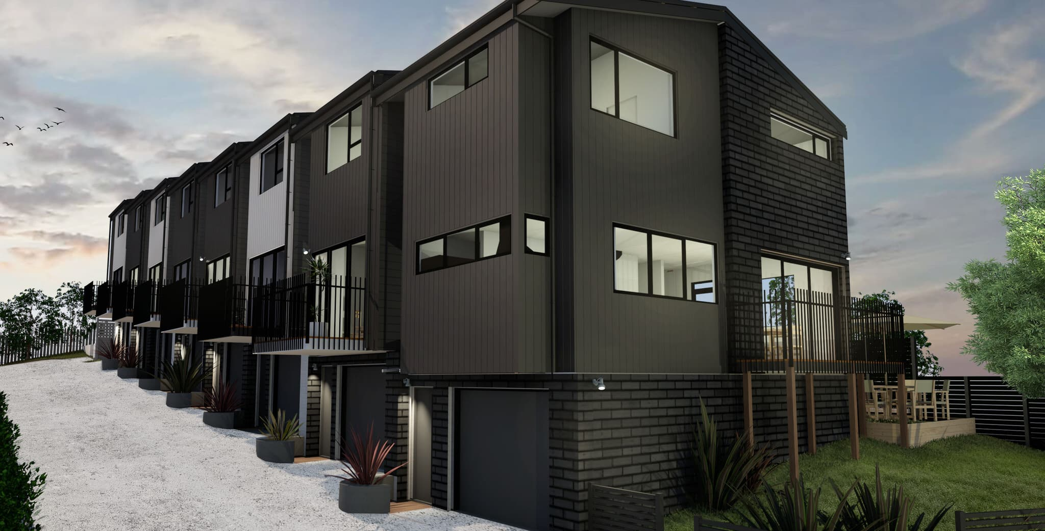 Glendowie Terraced Housing, Auckland - front view 1